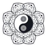 Vintage Yin y Yang en mandala Fotografía de archivo libre de regalías