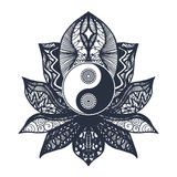 Vintage Yin and Yang in Lotus. Vintage Yin and Yang in Mandala Lotus. Tao symbol for print, tattoo, coloring book,fabric, t-shirt, yoga, henna, cloth in boho Royalty Free Stock Photos