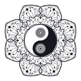 Vintage Yin and Yang in Mandala. Tao symbol for print, tattoo, coloring book,fabric, t-shirt, yoga, henna, cloth in boho style. Mehndi, occult and tribal Royalty Free Stock Photography