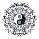 Vintage Yin and Yang in Mandala stock photography