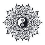 Vintage Yin and Yang in Mandala Stock Photo