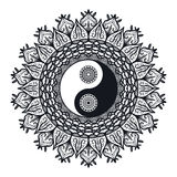 Vintage Yin and Yang in Mandala Stock Images
