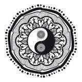 Vintage Yin and Yang in Mandala Stock Photos
