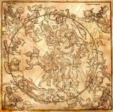 Vintage Zodiac circle stock illustration