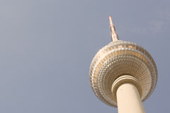 Vintage Zoomed TV tower Alexanderplatz. In a sunny day Royalty Free Stock Photos
