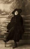 Vintageblack en wit portret van vrouw royalty-vrije stock afbeeldingen