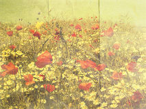 VintageStationery. Piece of vintage stationery with a pale summer-meadow theme Stock Image