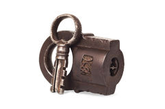 Vintaje padlock. Old metall Lock with Key Royalty Free Stock Photography