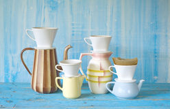 Vintange coffee pots and coffee filters Stock Photo