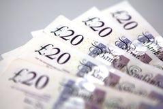 Vinte (20) notas de banco das libras fotos de stock royalty free