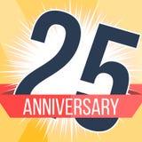 Vinte cinco anos de bandeira do aniversário 25o logotipo do aniversário Ilustração do vetor Imagem de Stock