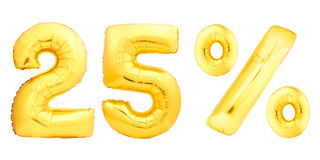 Vinte cinco 25 por cento dourados Imagens de Stock