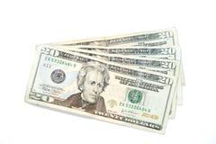 Vinte contas de dólar Fotografia de Stock