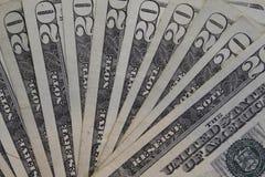 Vinte contas de dólar Imagens de Stock Royalty Free