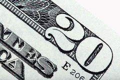 Vinte contas de dólar dos E S nota de dólar, tiro macro Imagem de Stock Royalty Free
