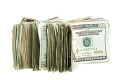 Vinte contas de dólar empilhadas e unidas junto Imagem de Stock Royalty Free