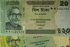 Vinte contas do taka, Bangladesh Foto de Stock