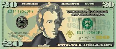 Vinte dólares bill.jpg Foto de Stock Royalty Free