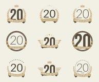 Vinte do aniversário anos de logotype da celebração 20a coleção do logotipo do aniversário Imagens de Stock