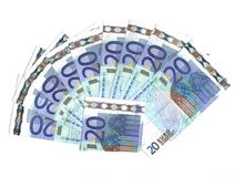 Vinte euro- notas de banco Foto de Stock