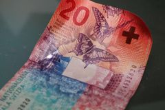 Vinte francos suíços fecham-se acima Fotografia de Stock Royalty Free