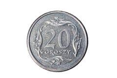 Vinte groszy Zloty polonês A moeda do Polônia Foto macro de uma moeda O Polônia descreve uma moeda dos groszy do Vinte-polimento Imagens de Stock