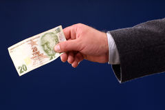 Vinte liras turcas de conta Imagens de Stock