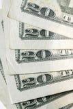 Vinte 20 notas de dólar Foto de Stock