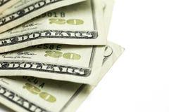 Vinte 20 notas de dólar Imagens de Stock
