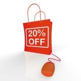 Vinte por cento fora do saco representam em linha 20 vendas e discontos Fotografia de Stock