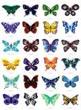 Vinte quatro borboletas coloridas no branco Fotografia de Stock