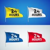 Vinte quatro horas - bandeiras do vetor Ilustração Stock