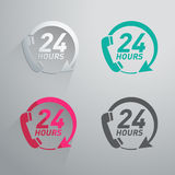 Vinte quatro horas de ícone Fotografia de Stock Royalty Free