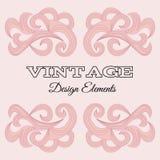 VintegeElements-16. Calligraphic design elements and page decoration. Red Vintage floral elements for design. Vector decorative design elements stock illustration