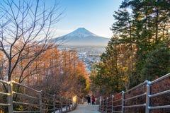 Vinter av Kawaguchiko, Fuji berg, Japan royaltyfria foton