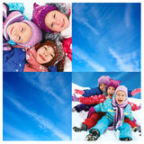Vinter collage av barns lekar arkivfoto