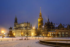 Vinter Dresden efter solnedgång Royaltyfria Foton