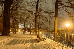 Vinter Dresden efter solnedgång Arkivfoton