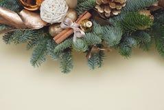 Vinter- eller julram på neutral bakgrund för elfenben med garnering, struntsaken, kanelbruna pinnar och granträdfilialen Fotografering för Bildbyråer