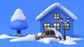 Vinter för bakgrund för plats för blått för stil för tecknad film för bilsnöabstrakt begrepp blå royaltyfri illustrationer