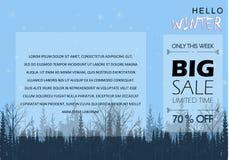 Vinter för begreppsdesign som shoppar stor rabatt stock illustrationer