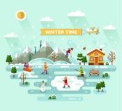 vinter för blommasnowtid stock illustrationer