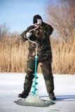 vinter för drillfiskarelake fotografering för bildbyråer