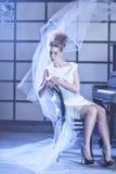 vinter för drottning för makeup för idérikt mode för konst hög key Royaltyfria Bilder