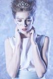 vinter för drottning för makeup för idérikt mode för konst hög key Royaltyfri Fotografi