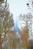 vinter för eiffel torn Arkivbild
