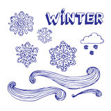 vinter för elementset Vektor Illustrationer
