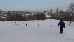 Vinter för folkkulleskridsko stock video