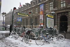 vinter för france paris snowstorm Royaltyfri Foto