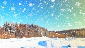 vinter för illustration för bakgrundsjuldesign Snöflingor över snöig skogXmas-plats av vinternaturen Snowfall i skog arkivfoton